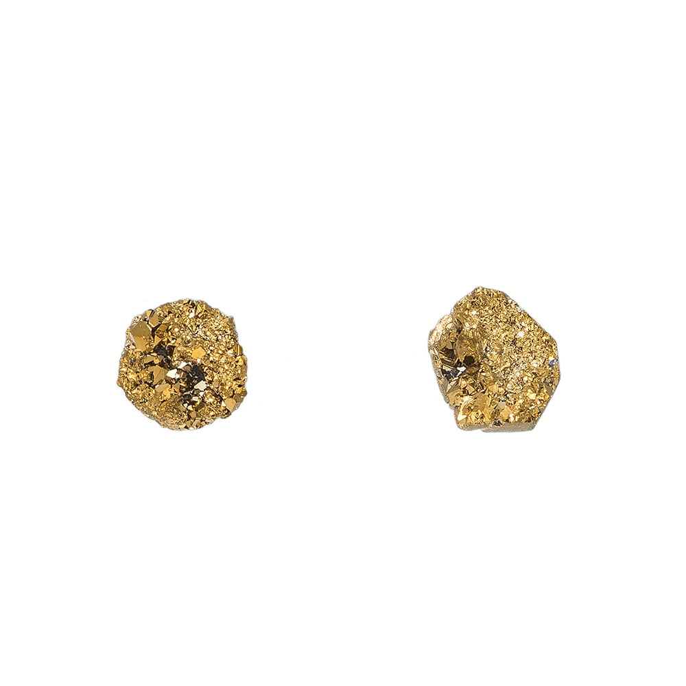 Yellow Natural Druzy Stud Earrings