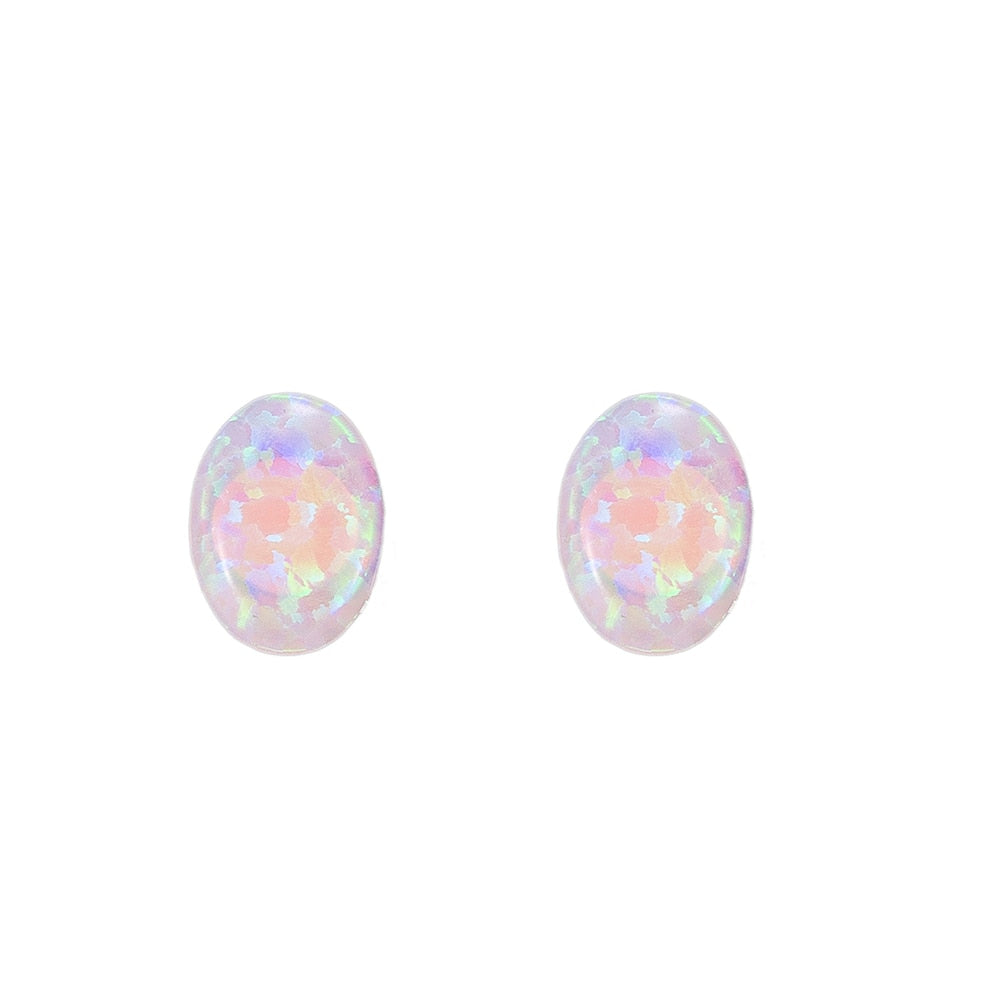 Ellipse Opal Stud Earring in Sterling Silver