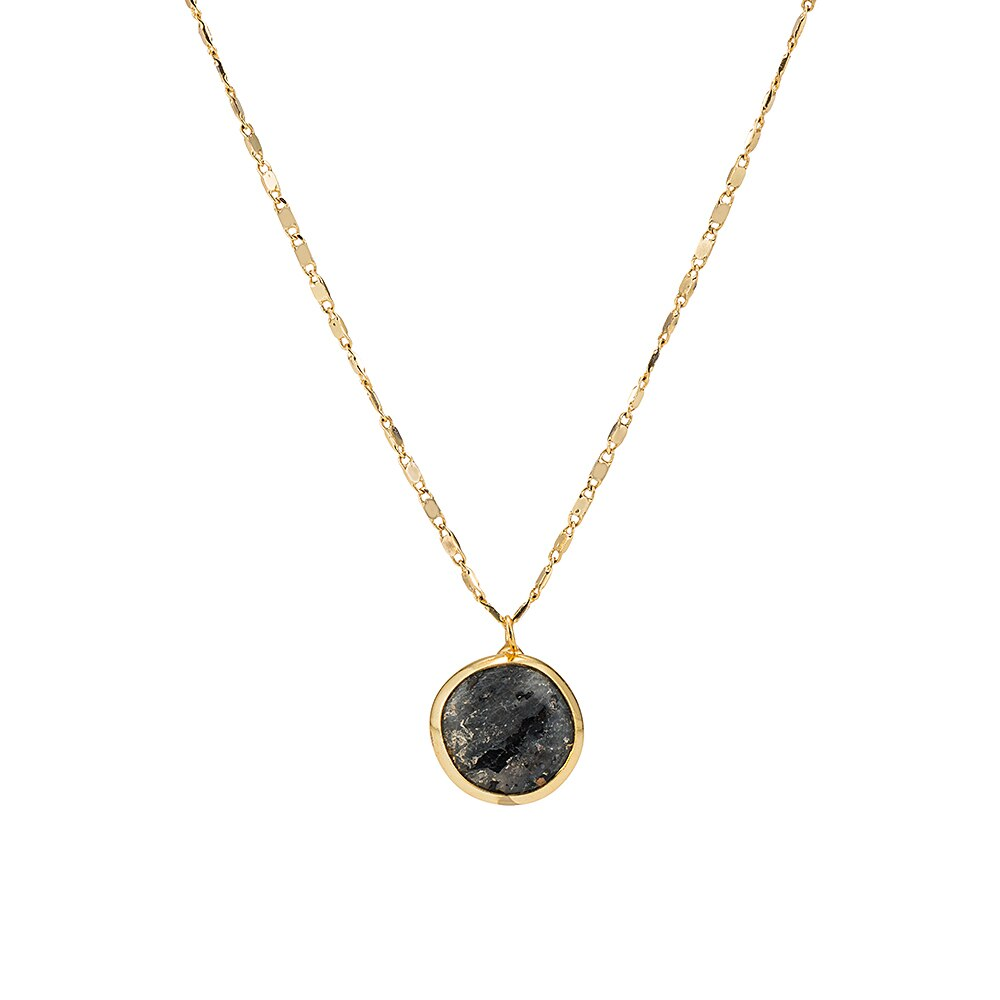 Gold Plated Round Agate Necklace