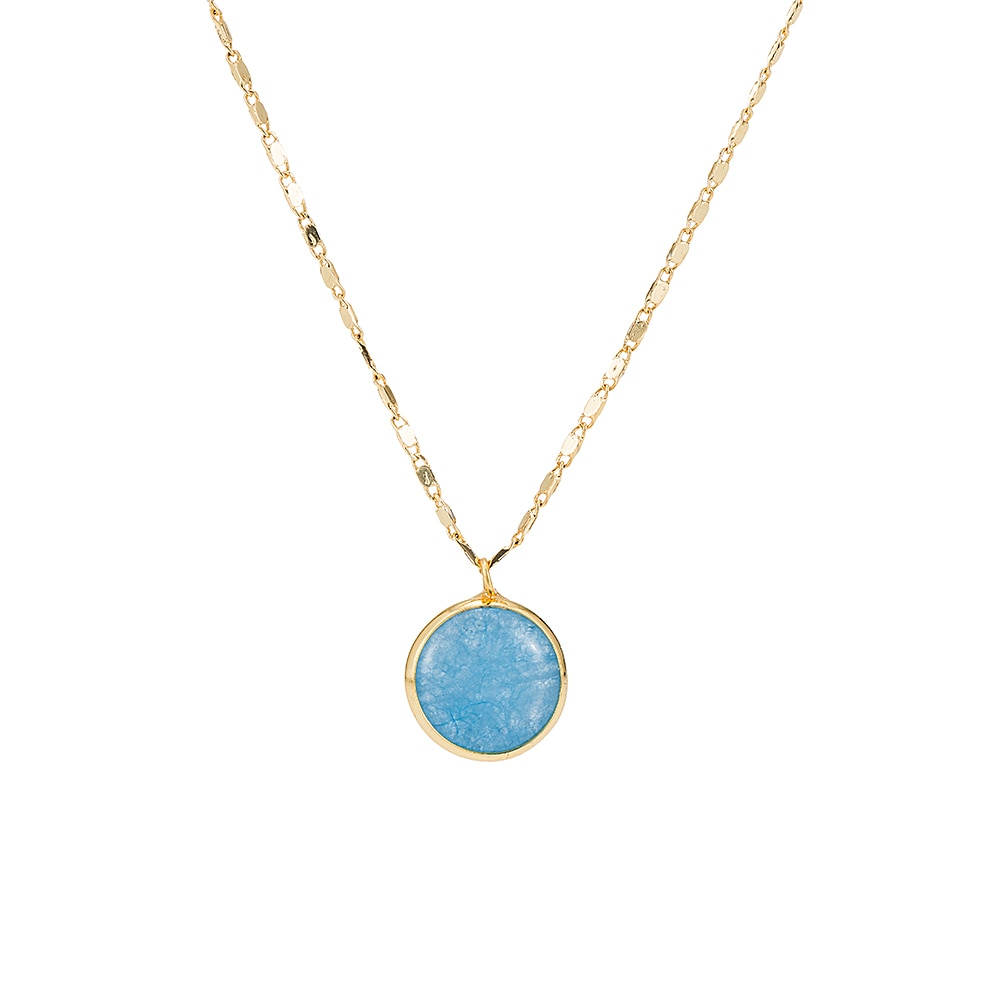 Gold Plated Round Sapphire Necklace