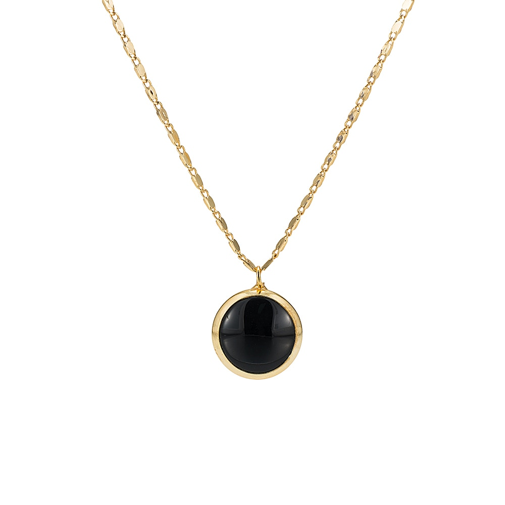 Gold Plated Round Black Onyx Necklace