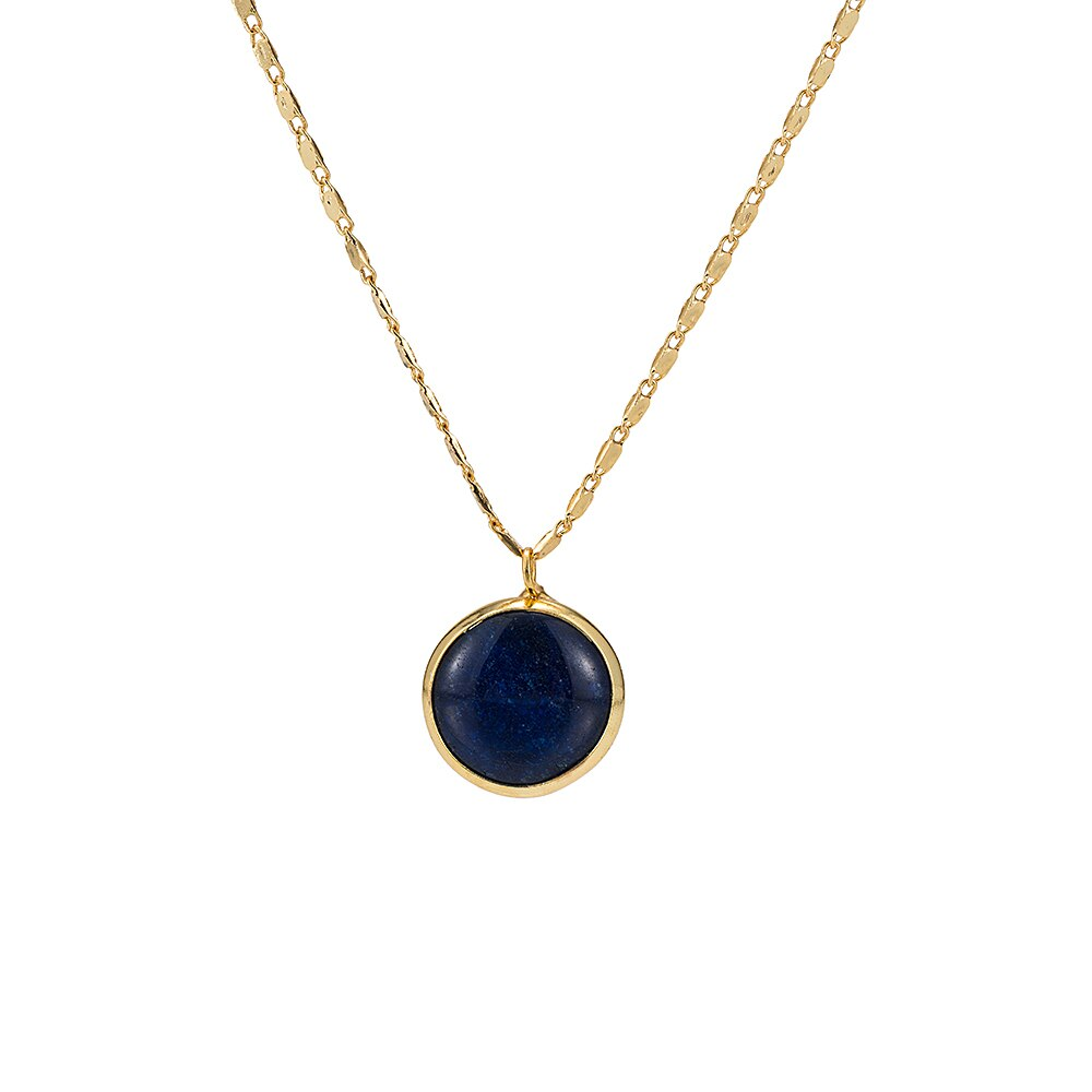 Gold Plated Round Lapis Necklace
