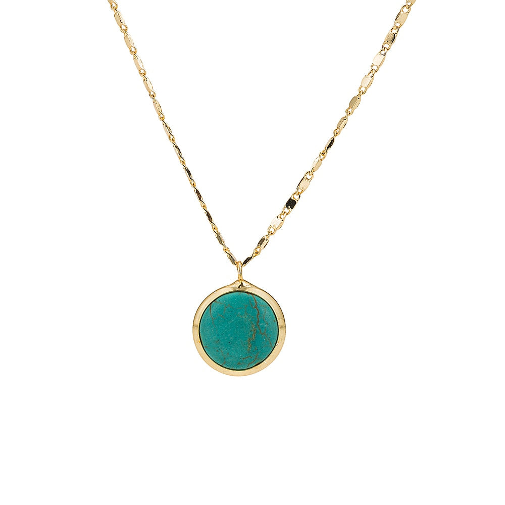 Gold Plated Round Turquoise Necklace