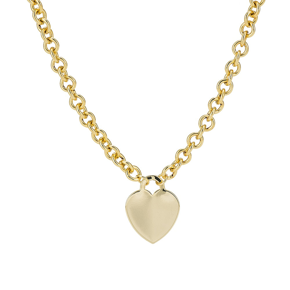 Gold Plated  Classic Cable Chain Necklace with Heart Charm