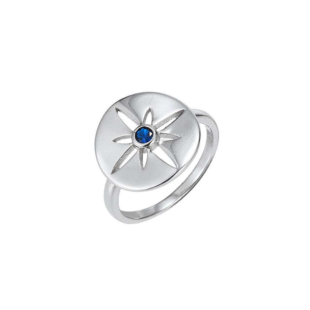 Sterling Silver North Star Ring with Sapphire CZ