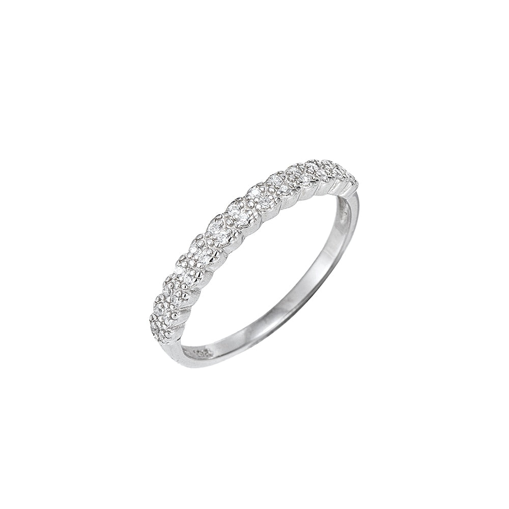 Sterling Silver CZ Braid Ring