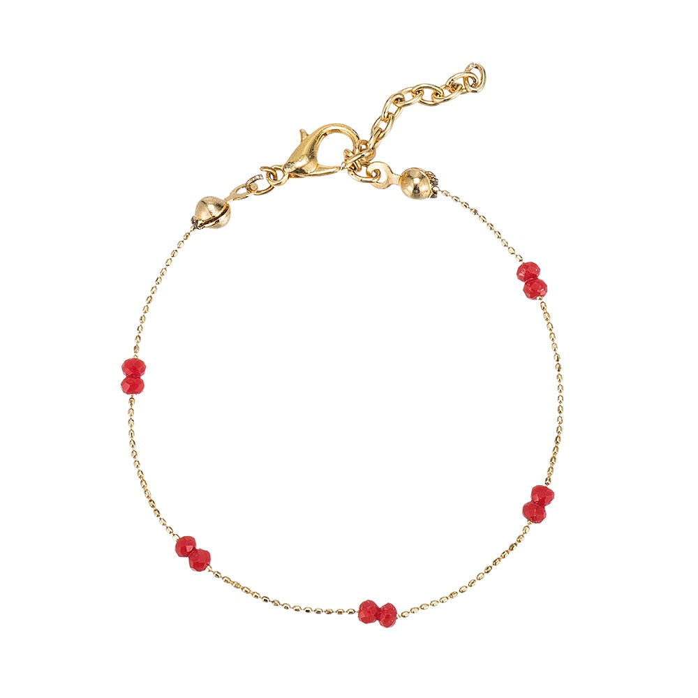Gold Plated Crystal Beads Bracelet Red