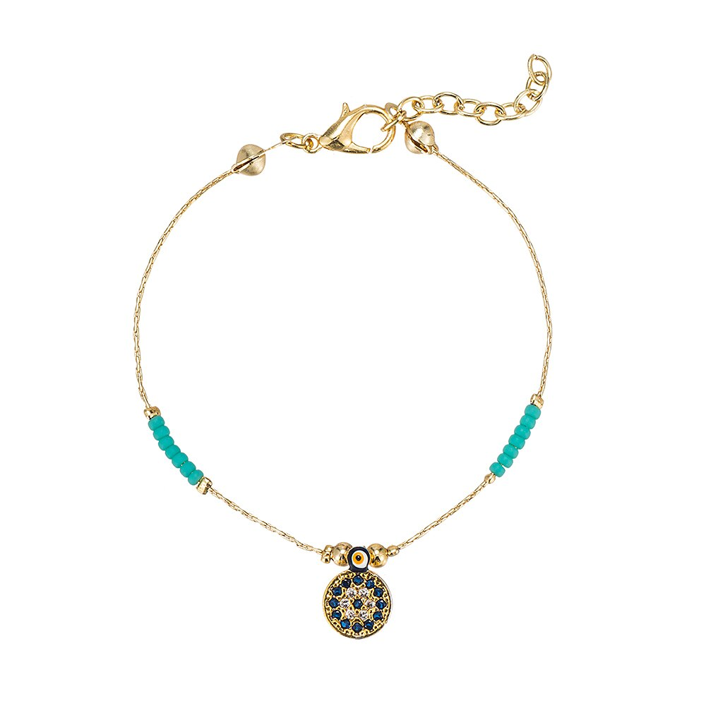 Gold Plated Beaded Evil Eye Bracelet