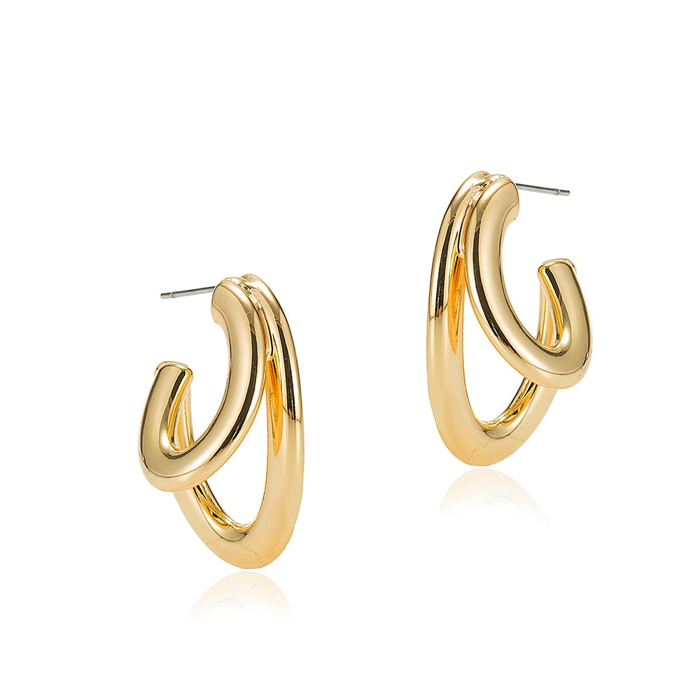 Gold Plated Double Line Hoop Earrings