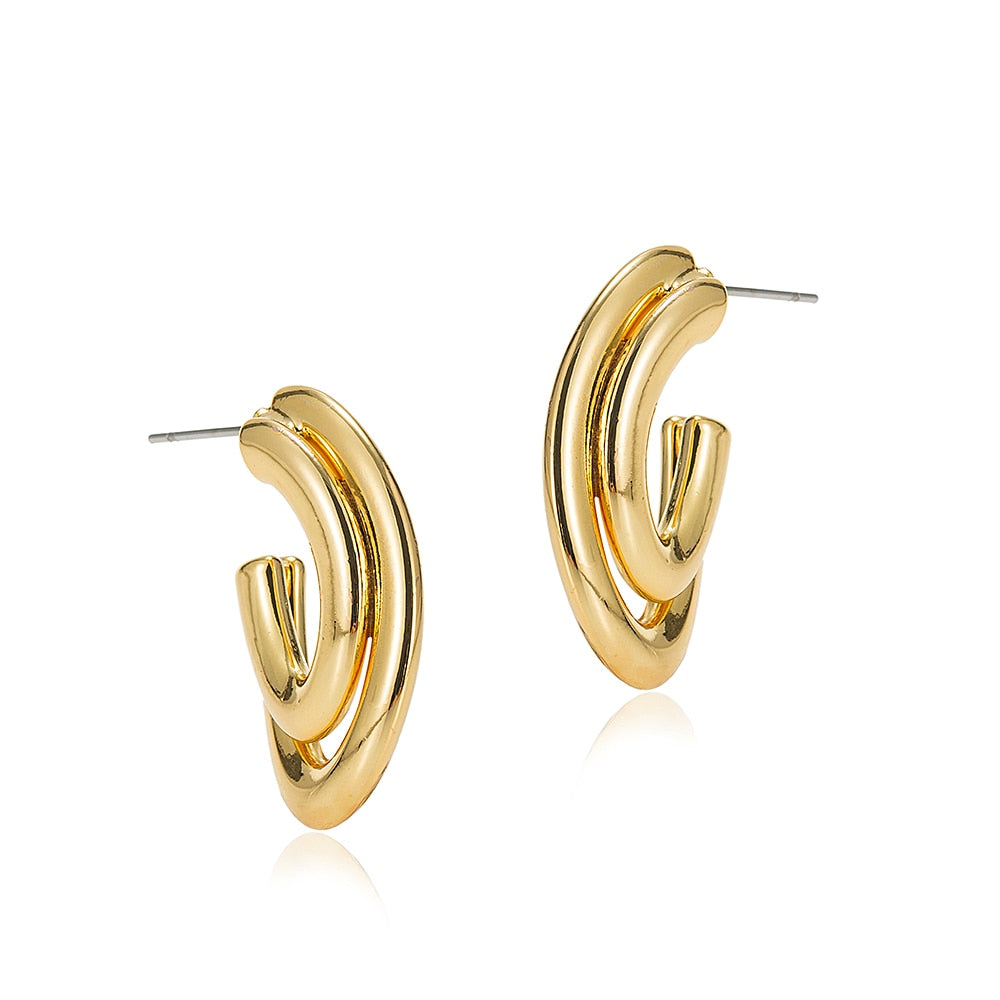 Double Line Hoop Earrings Gold Plated