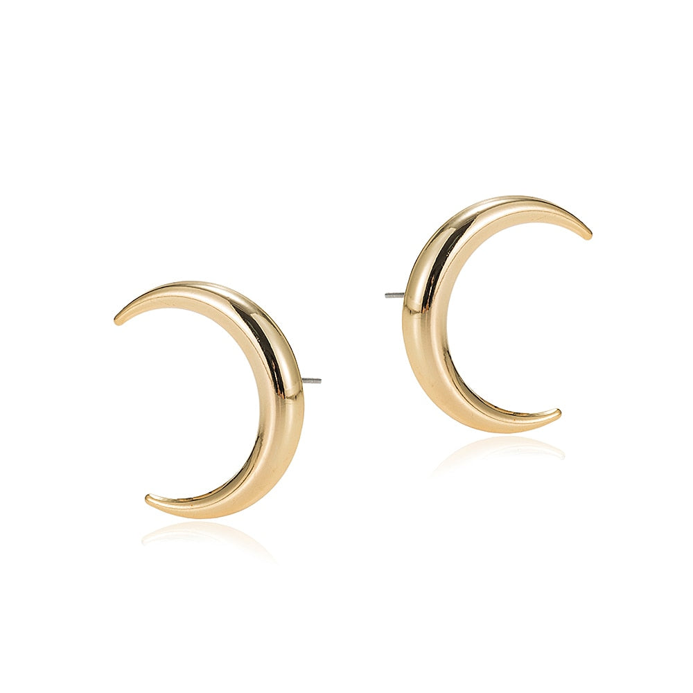 Gold Plated Crescent Earrings