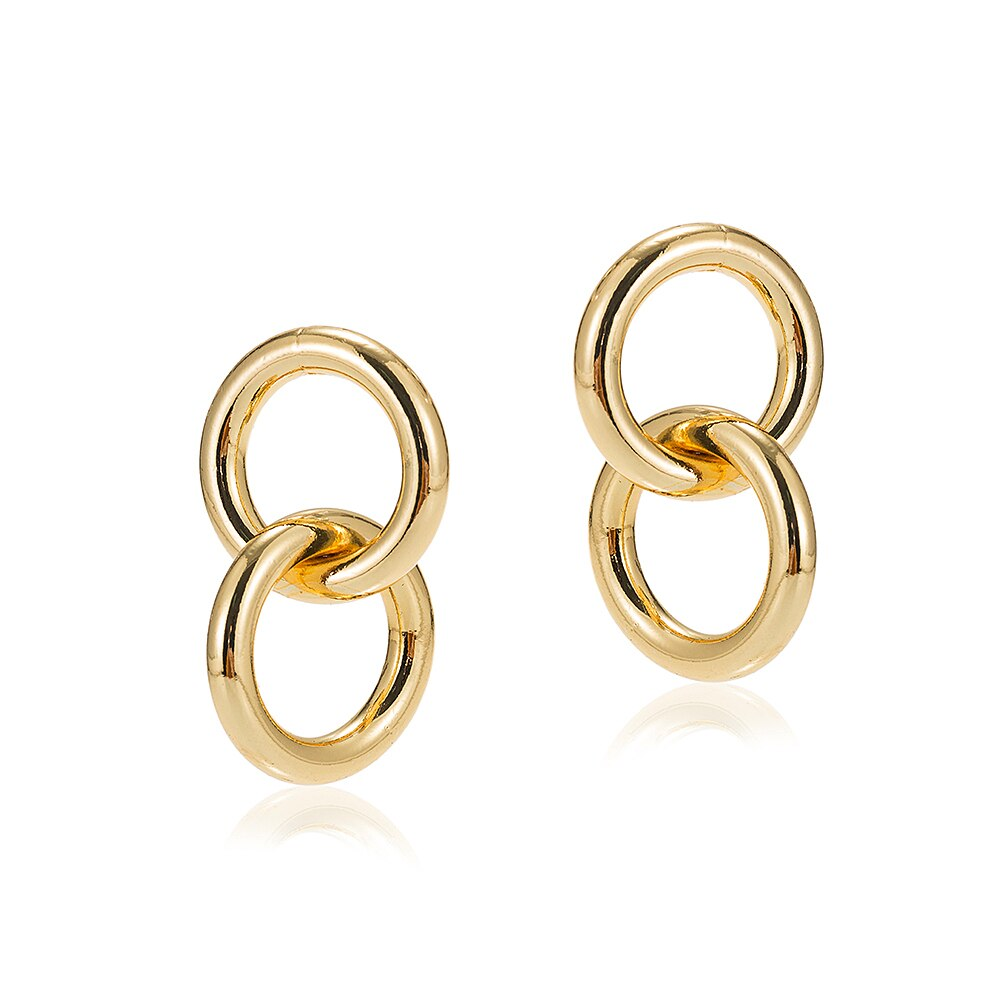 Gold Plated Dangly Double Circle Earrings