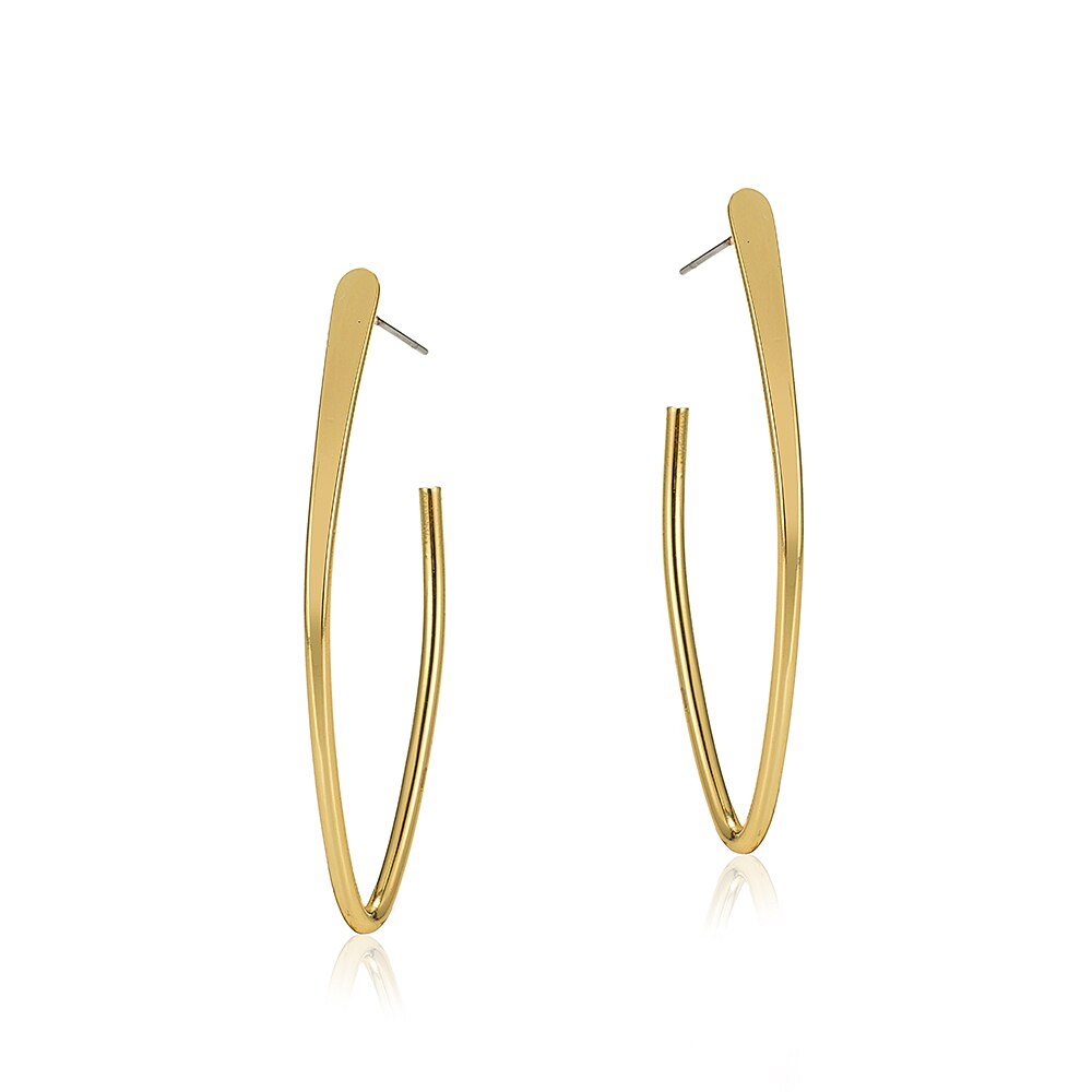 Gold Plated Ovate Hoop Earrings