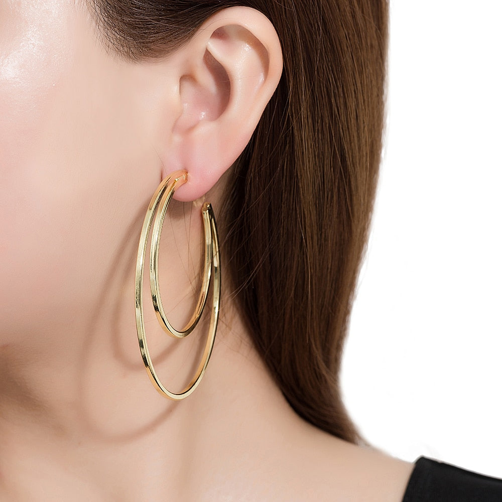 Gold Plated Crescent Hoop Earrings