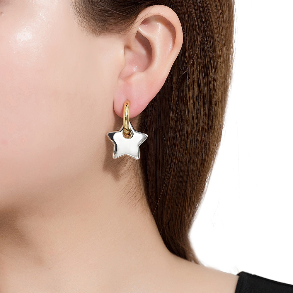 Gold Plated Star Dangly Earrings