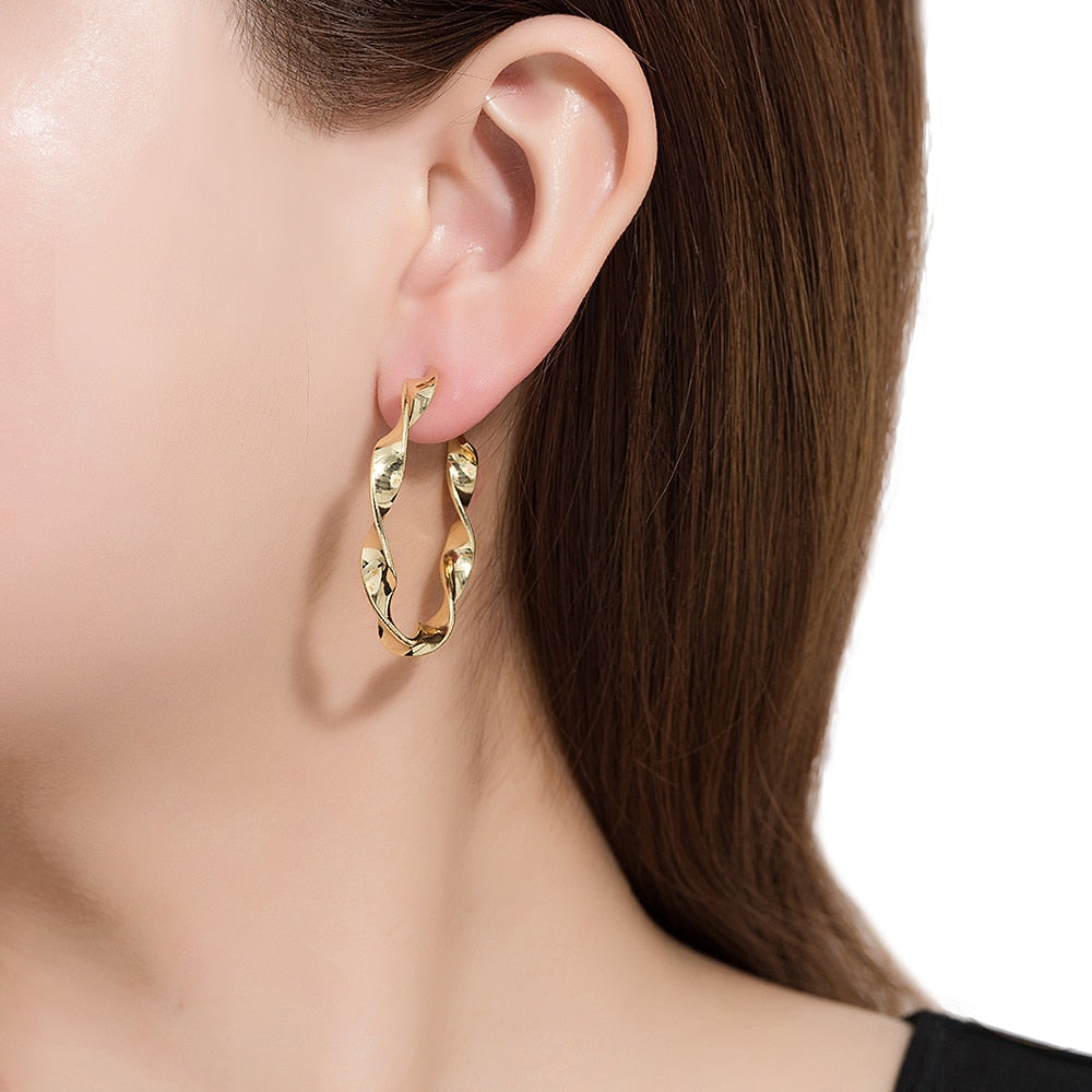 Gold Plated Twisted Hoop Earrings
