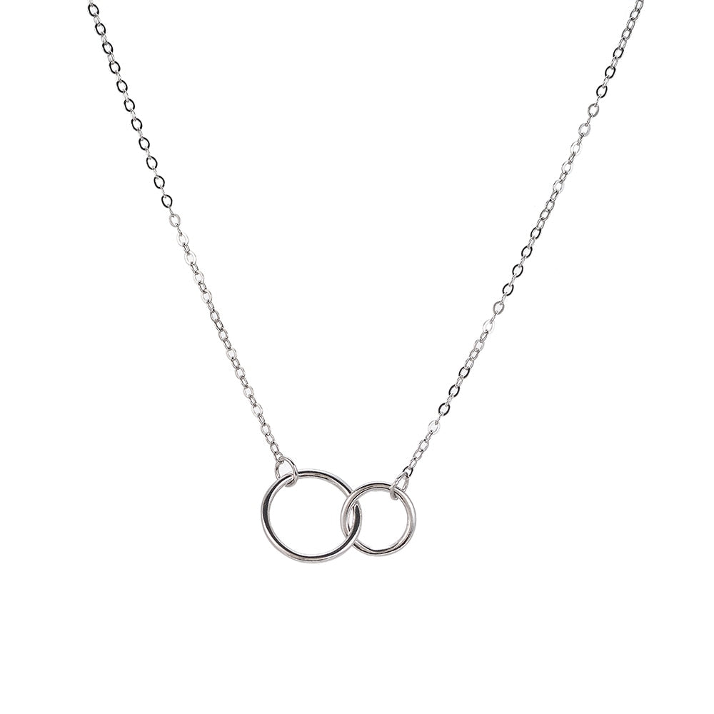 Double Circle Sterling Silver Necklace - Silver Necklace