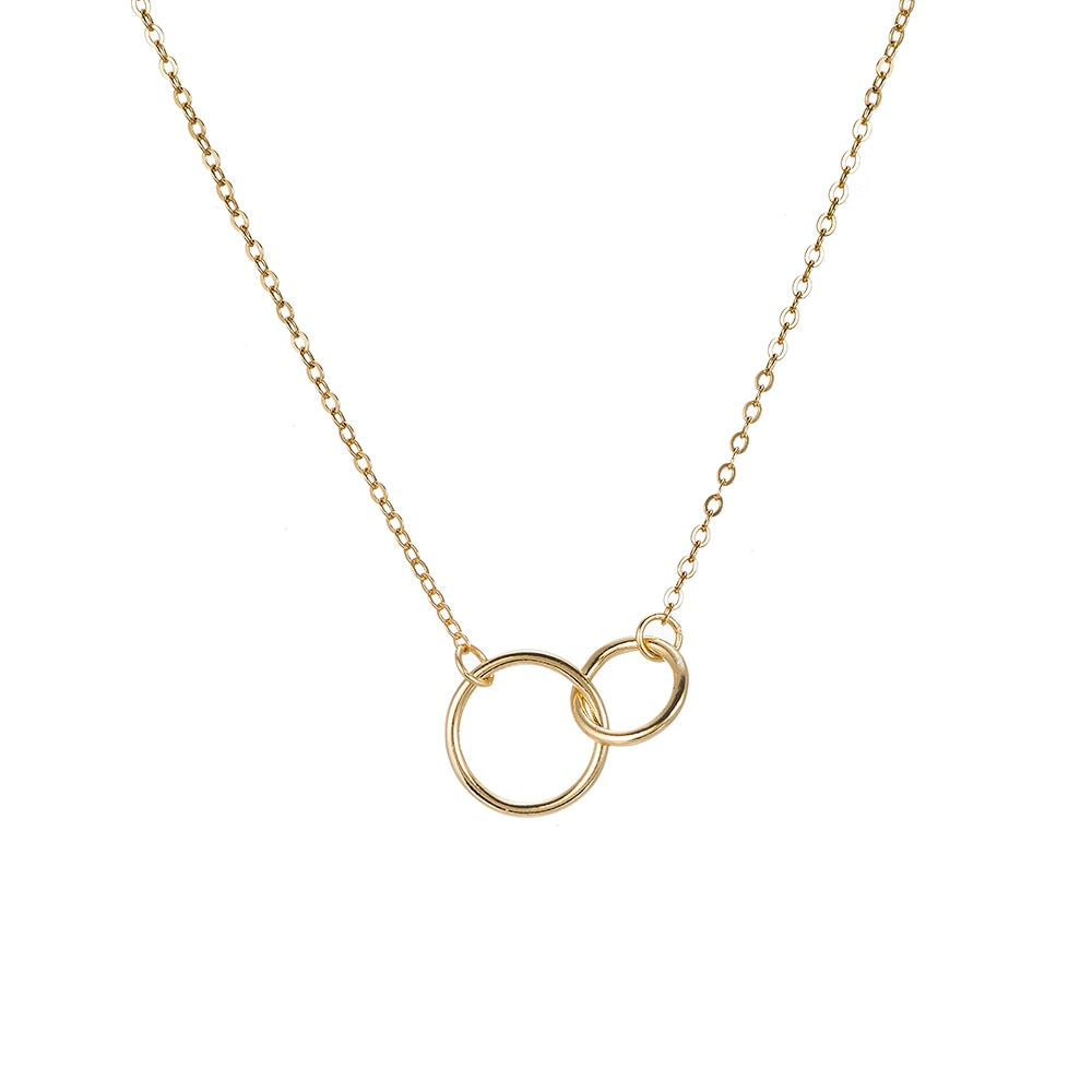 Double Circle Sterling Silver Necklace - Gold Necklace
