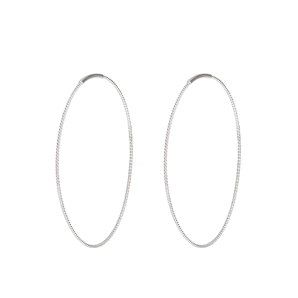 Silver Slim Hoop Earrings