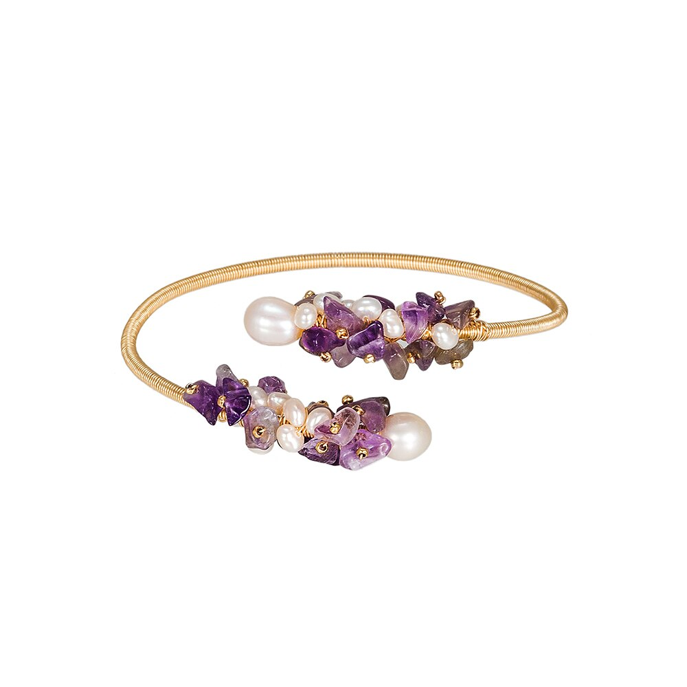 Amethyst and Pearl Bangle