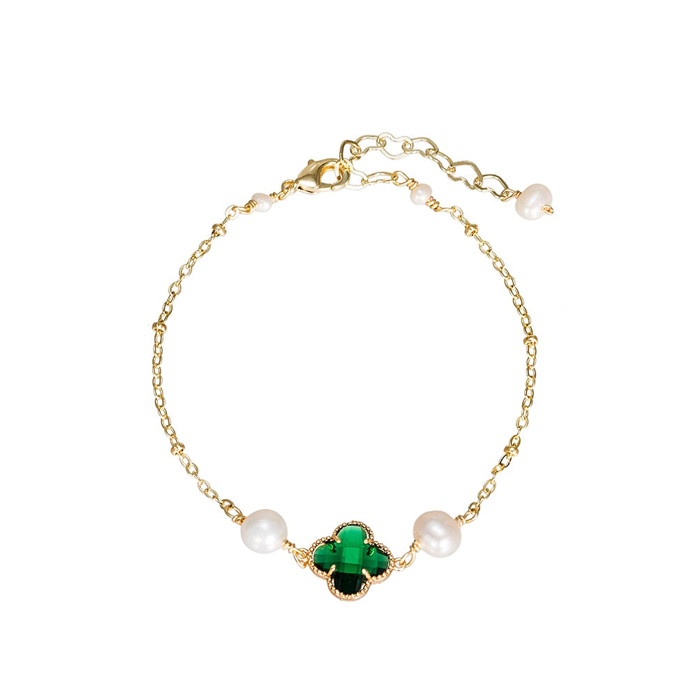 Gold Plated Clover and Pearl Bracelet