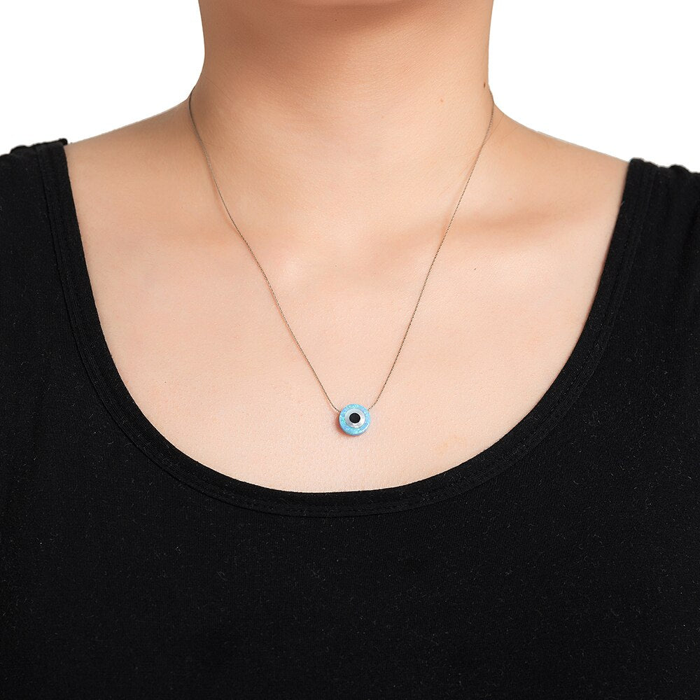 Silver Opal Evil Eye Necklace