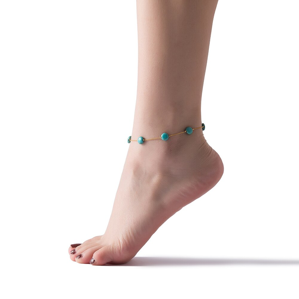 Gold Plated Turquoise Beads Anklet Model