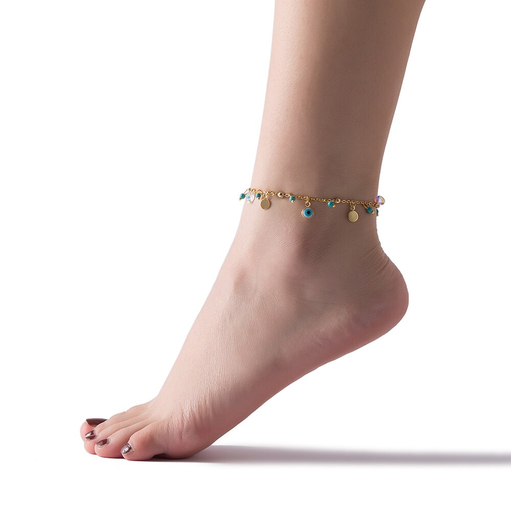 Gold Plated Evil Eye Charm Anklet Model