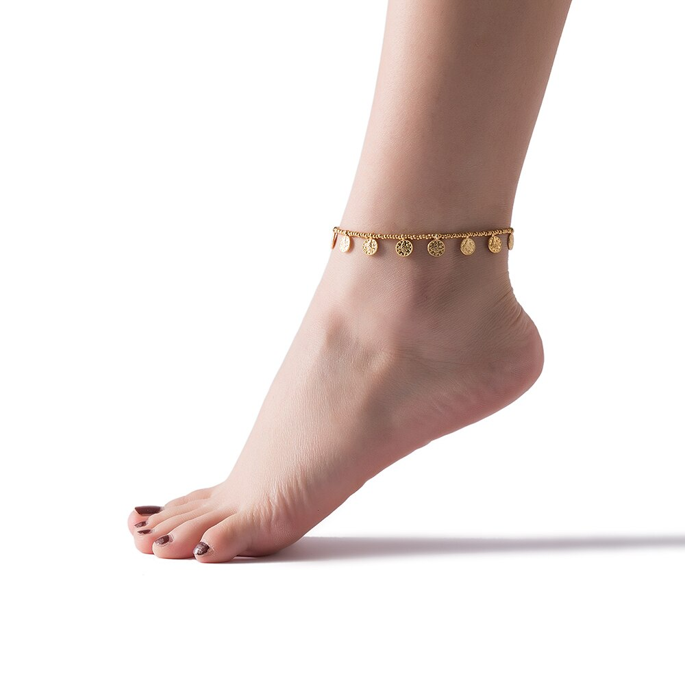 Ottoman Coin and Gold Beaded Anklet Model
