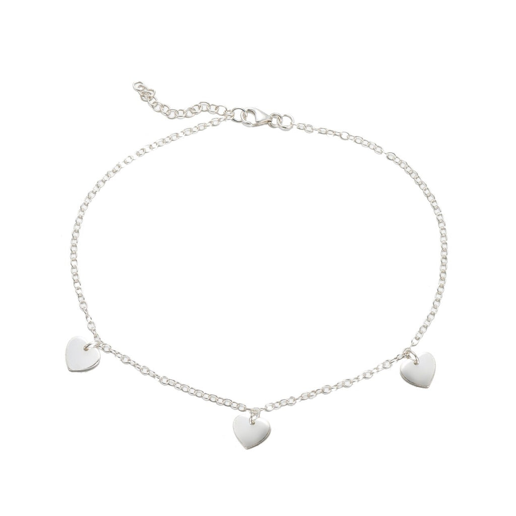 Sterling Silver Dangly Hearts Anklet