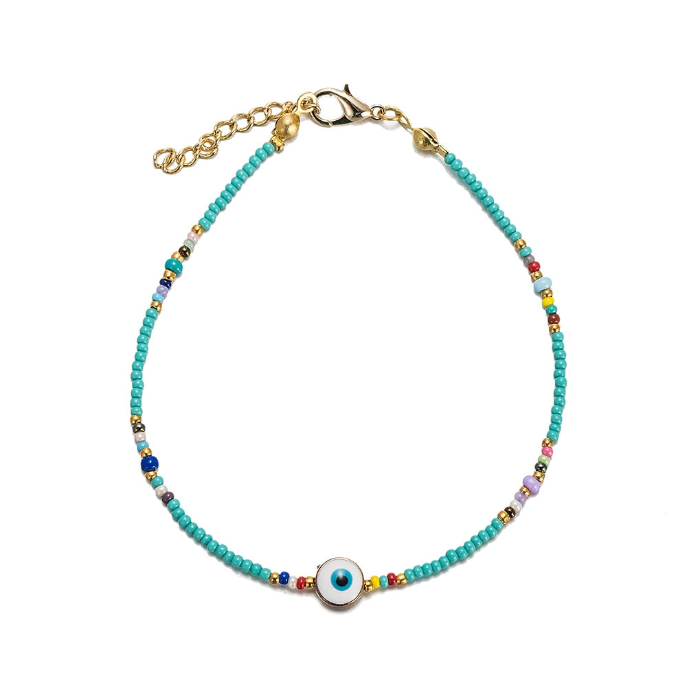 Beaded Evil Eye Anklet with Turquoise Stones