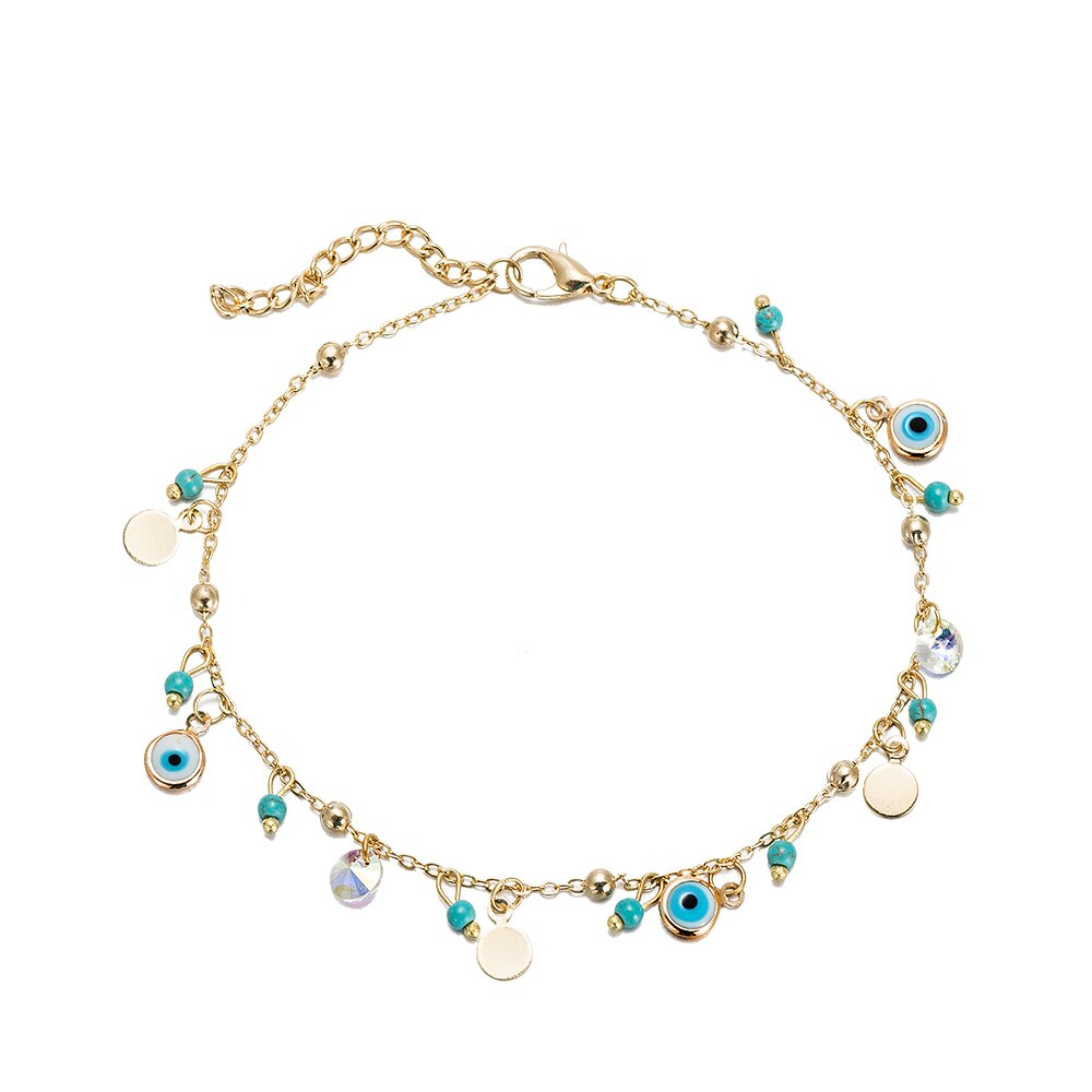 Gold Plated Evil Eye Charm Anklet