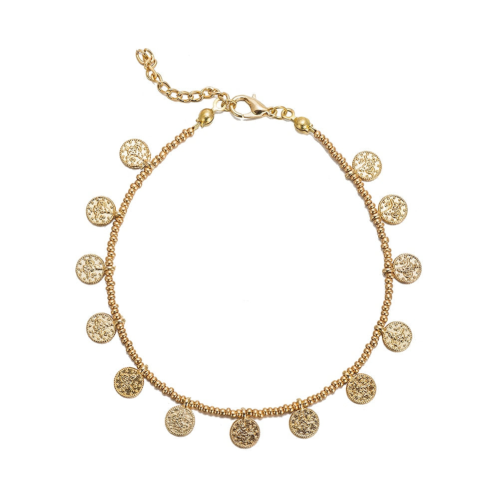 Ottoman Coin and Gold Beaded Anklet