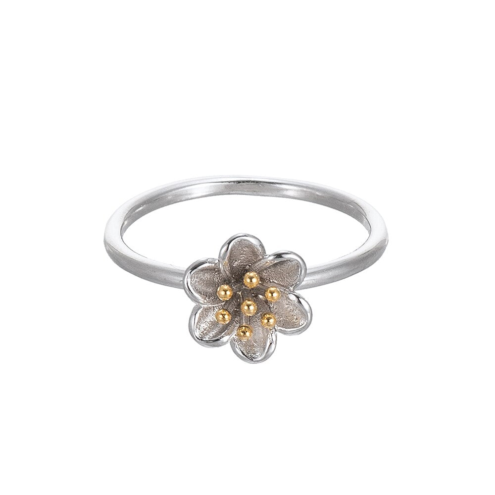 Sterling Silver Two Tone Flower Ring