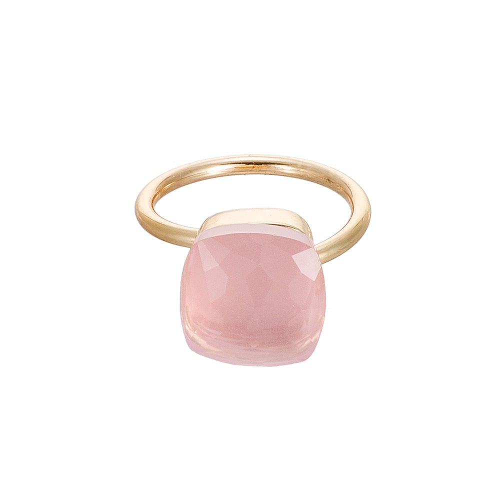Gold Plated Adjustable Gemstone Rings Pink