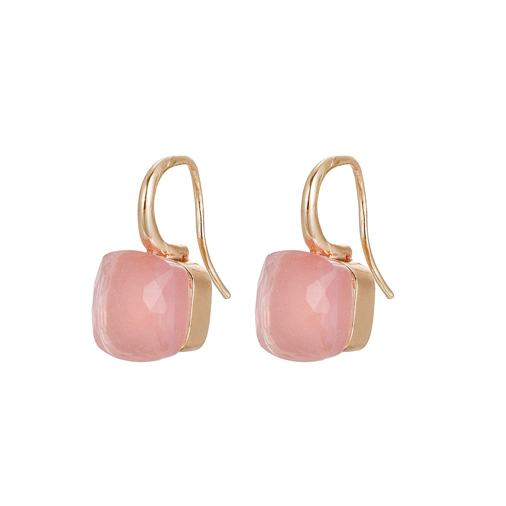 Gold Plated Dangly Gemstone Earrings Pink