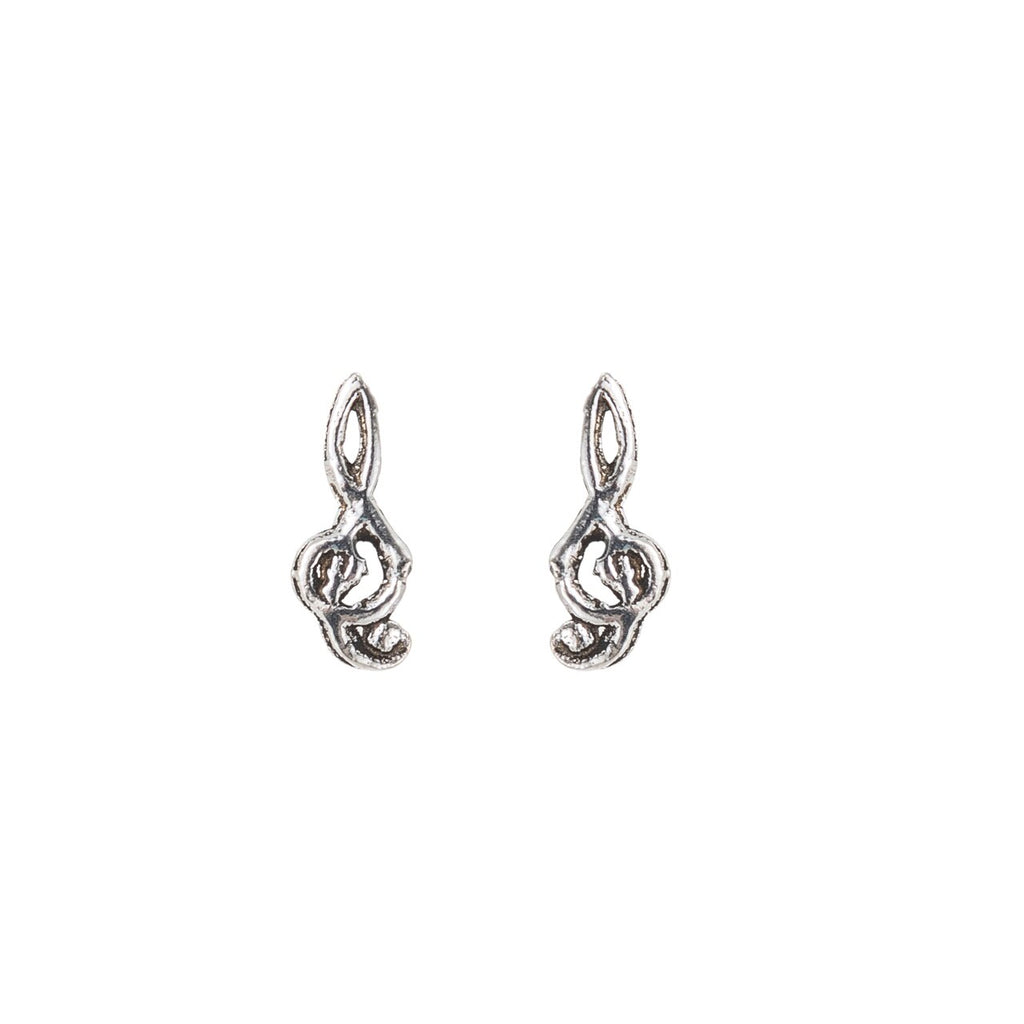 Sterling Silver Small Treble Clef Sign Stud Earrings