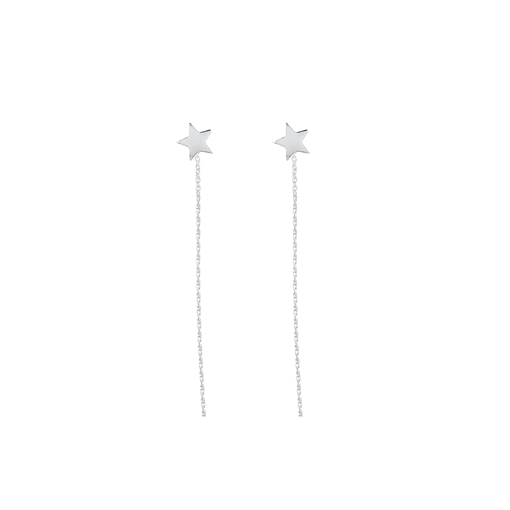 Sterling Silver Star Chained Earrings