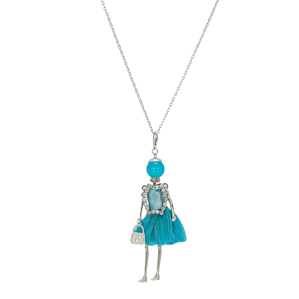 Light Blue Embellished with CZ Baby Doll Necklace