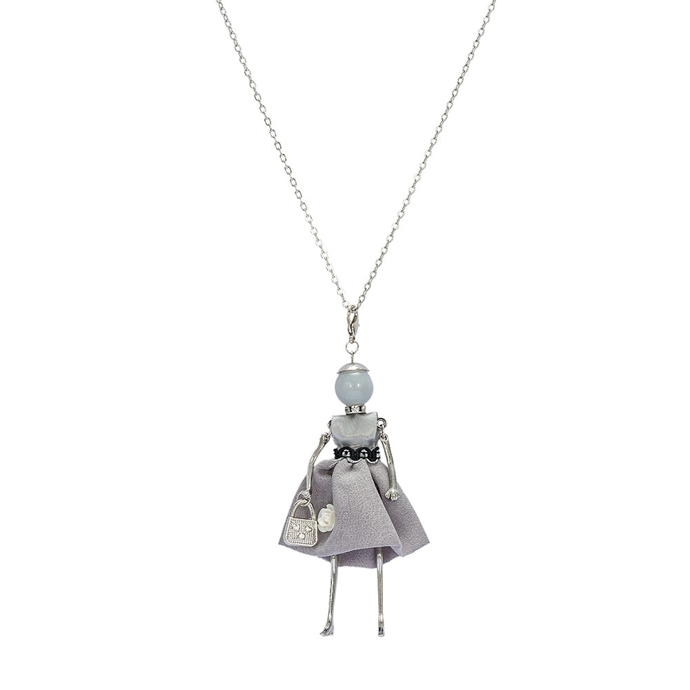 Grey Silk Embellishment with Rose Baby Doll Necklace