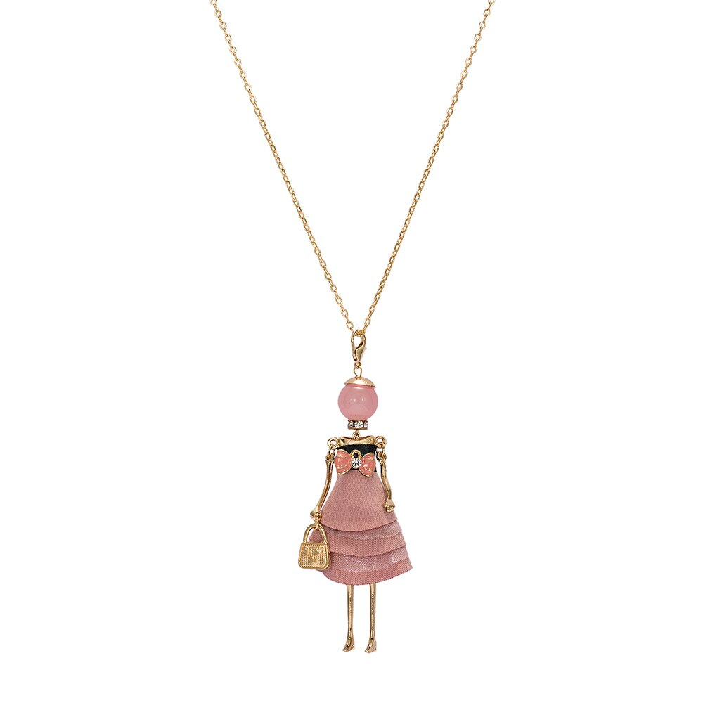 Salmon Pink Bow Baby Doll Necklace