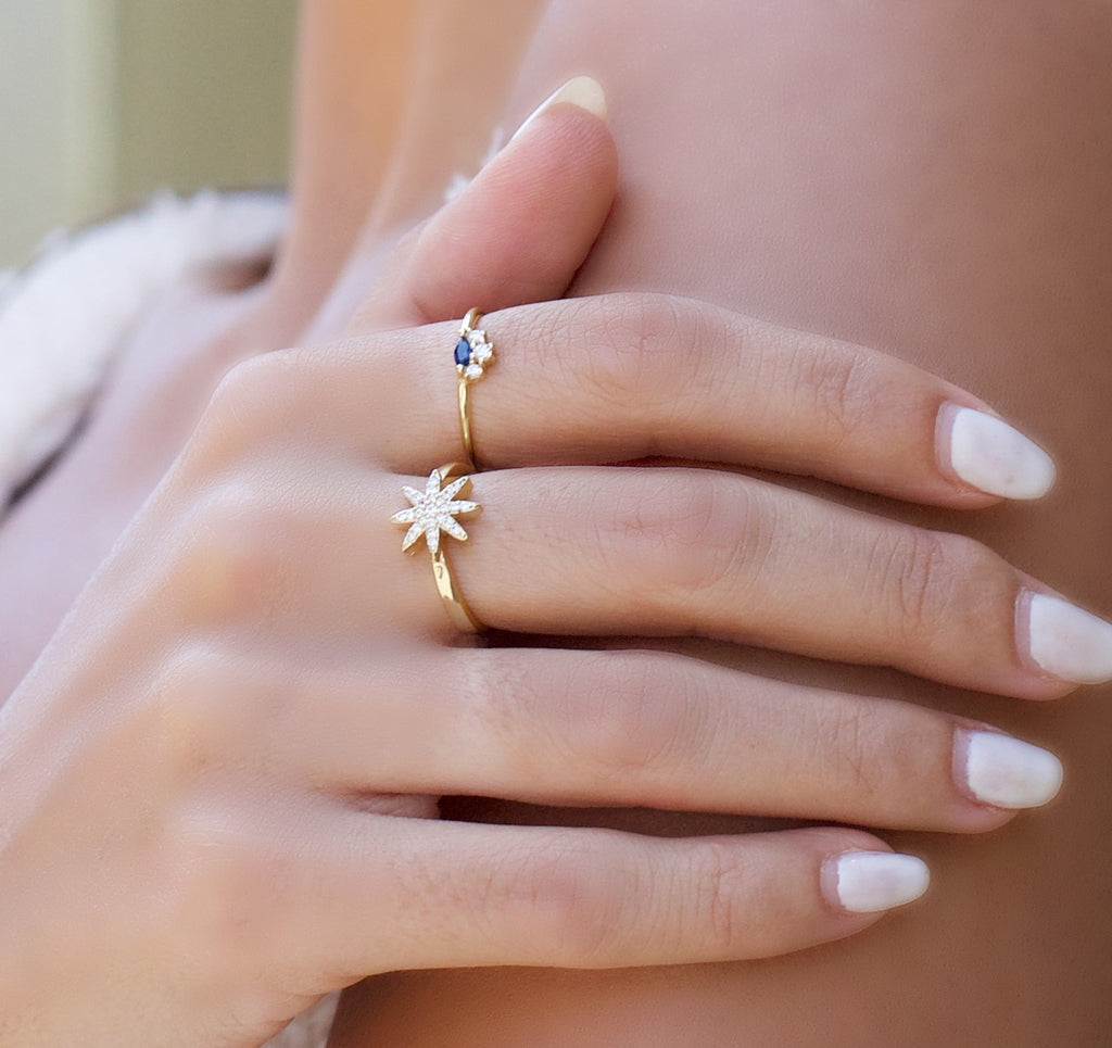 Gold Plated Fairy Star Sterling Silver Ring