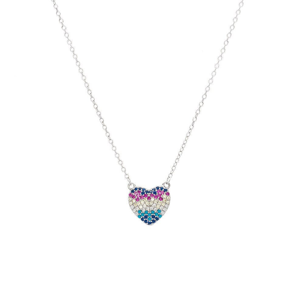 Silver Small Rainbow Heart Necklace