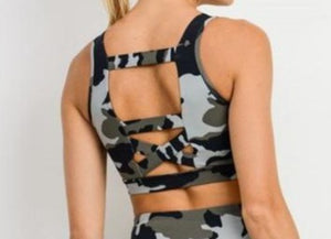 Ace Camo Criss-Cross Strap Bra