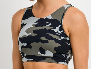 Open image in slideshow, Ace Camo Criss-Cross Strap Bra