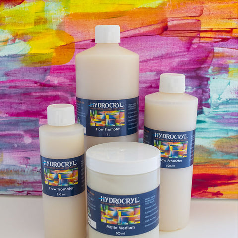 Hydrocryl acrylic mediums and flow promoters