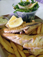Grilled Flathead, chips & rocket pear salad