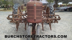 Farmall C tractor with 2 row cultivator
