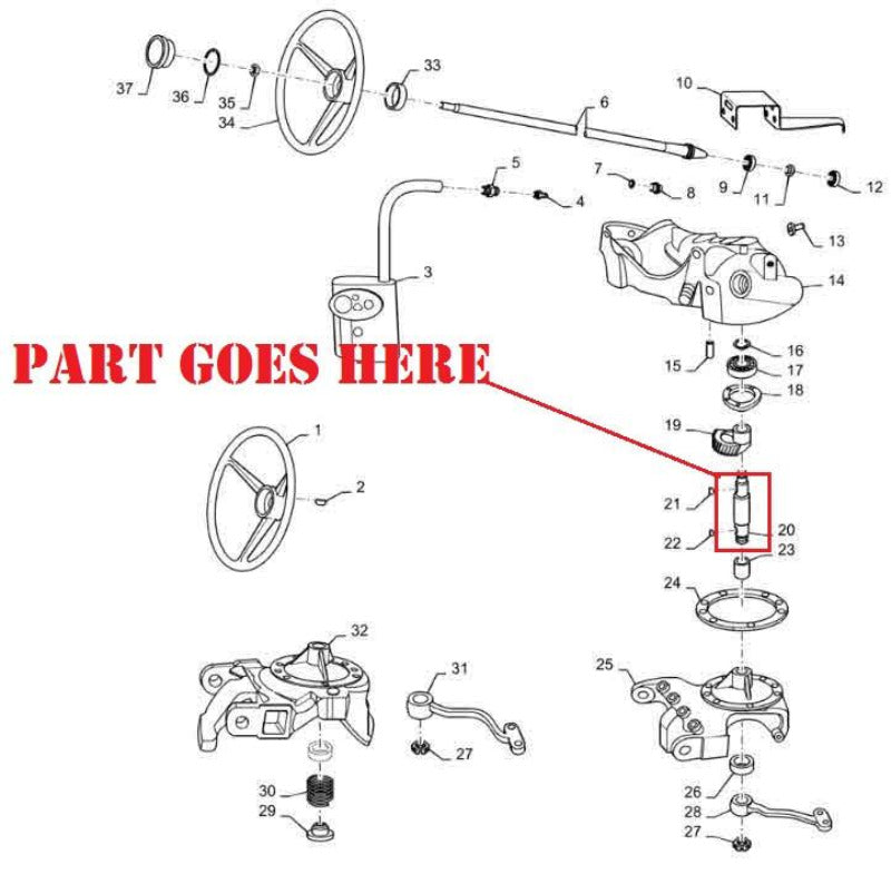 New Steering Worm Gear Shaft for Farmall 140 Tractors, 70890C1 ...