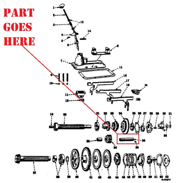 Transmission Reverse Idler Shaft For Farmall 140 130 Super A 100 Super C 200 230 240 404 Tractors 351816r1 on ford parts breakdown diagram